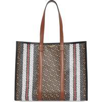 Burberry Monogram Stripe E-Canvas Tote Bag - Marrom