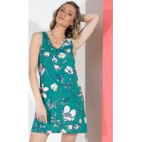 Vestido Floral Verde Com Decote V E Bolsos