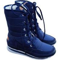 Bota Andarilha Forrada Neve Frio Cadarço Feminina - Feminino-Azul