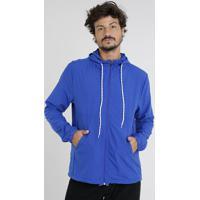 Jaqueta Corta Vento Masculina Com Capuz Azul Royal