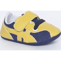 Tênis Com Elástico & Velcro- Azul Marinho & Amarelotico Baby