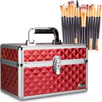 Maleta De Maquiagem Média 6 Bandejas Vermelha + Kit 15 Pincéis Maquiagem