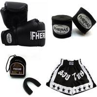 Kit Boxe Muay Thai - Preto Fheras Tradicional - Unissex