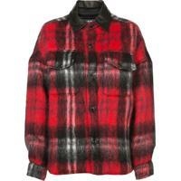 Amiri Camisa Xadrez Com Textura - Vermelho