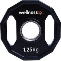 Anilha Poliuretano Wellness - Furação Olímpica - 12 Faces Com Pegadas - 1,25Kg - Unissex