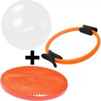 Kit Anel De Pilates + Disco De Equilibrio Inflavel + Bola 65 Cm Transparente Liveup - Unissex