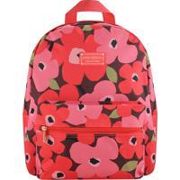 Mochila Floral Com Tag- Vinho Rosa- 29,5X12,5X38Cmjacki Design