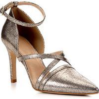 Scarpin Shoestock Metailzado Salto Alto Tiras - Feminino-Dourado