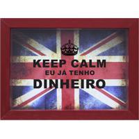 Quadro Cofre Keep Calm Vermelho 13X18Cm