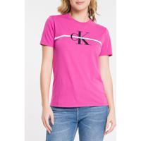 Blusa Mc Slim Logo Meia Reat Gc Faixa - Uva Claro - G