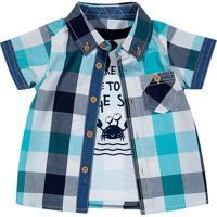 Camisa Xadrez - Azul Escuro & Brancatip Top