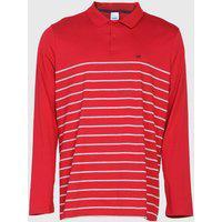 Camisa Polo Malwee Reta Listrada Vermelha/Cinza