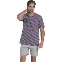 Pijama Recco De Cotton E Malha Algodão Cinza