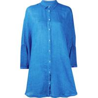 120% Lino Camisa Com Botões - Azul