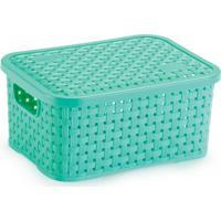 Caixa Organizadora De Plástico Rattan Pp Com Tampa Cor Verde
