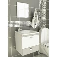 Kit Para Banheiro 3 Peças Sintético Espelho Cinza Tomdo