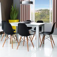 Conjunto De Mesa Cogma Com 6 Cadeiras Eames Base Madeira Branco E Preto