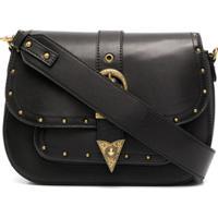 Versace Jeans Couture Bolsa Tiracolo De Couro Com Tachas - Preto