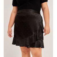 Saia Acetinada Com Textura Poá E Babados Curve & Plus Size | Ashua Curve E Plus Size | Preto | G