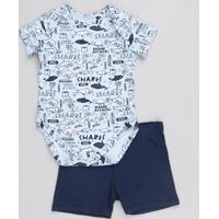 Conjunto Infantil De Body Estampado Tubarão Manga Curta Azul + Short Azul Marinho