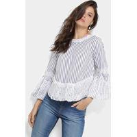 Blusa Lily Fashion Listrada Renda Feminina - Feminino-Marinho