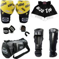 Kit Boxe Top Luva Bandagem Bucal Caneleira Shorts Bolsa 08 Oz Tailandes - Unissex