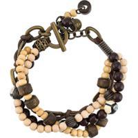 Eleventy Beaded Logo Charm Bracelet - Preto