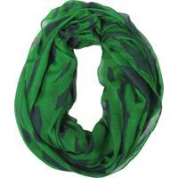 Snood- Pashmina- Green Stripes 100% Poliester- Verde
