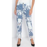 Jeans Confort High Reto Floral- Azul & Branco- Lançalança Perfume