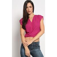 Blusa Transpassada Com Vazado - Malva - Colccicolcci