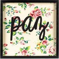 """Quadro Floral """"Paz""""- Preto & Rosa- 30X30Cm- Art Art Frame"""