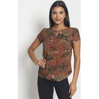 Blusa Floral Com Folhagens- Marrom & Verde- Vip Resevip Reserva