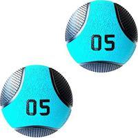 Kit 2 Medicine Ball Liveup Pro C 5 Kg Bola De Peso Treino Funcional - Unissex