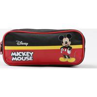 Estojo Escolar Infantil Mickey Mouse Com Divisórias Preto