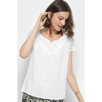 Blusa Sofia Fashion Guipir Com Apliques Feminina - Feminino-Branco