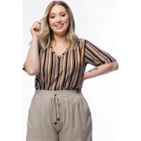 Blusa Plus Size Listrada Canelado