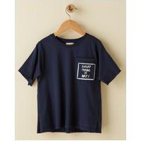Amaro Feminino Camiseta Infantil Regular Bolso, Azul Marinho
