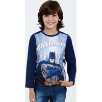 Camiseta Infantil Manga Longa Batman Liga Da Justiça