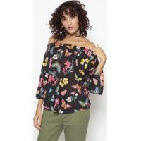Blusa Ciganinha Floral Com Linho- Preta & Rosa- Benebenetton
