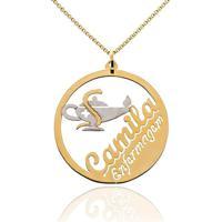 Mandala Símbolo Profissão Com Nome Personalizado Banhado Em Ouro 18K