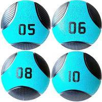 Kit 4 Medicine Ball Liveup Pro 5 6 8 E 10 Kg Bola De Peso Treino Funcional - Unissex