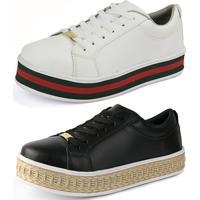 Kit Sapatenis Cr Shoes Flatform Rebento Preto E Branco Com Vermelho