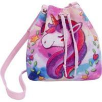 Bolsa Infantil Princesa Pink Bucket Gliter Unicornio Rosa