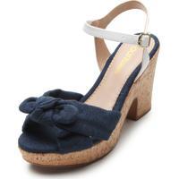 Sandália Dafiti Shoes Laço Azul-Marinho