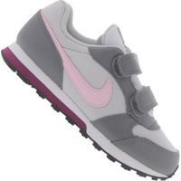 Tênis Sem Cadarço Nike Md Runner 2 Com Duas Tiras Em Velcro - Infantil - Cinza Cla/Cinza Esc