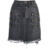 Unravel Project Saia Jeans Destroyed Com Detalhe De Zíper - Preto