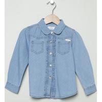 Camisa Jeans Maquinetada- Azul- Milonmilon