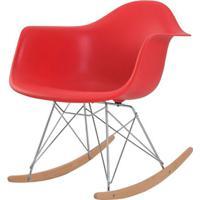 Cadeira Eames Eiffel Com Braco Polipropileno Cor Vermelho Base Balanco - 44928 - Sun House