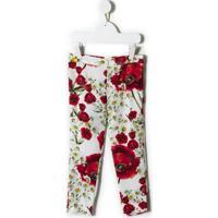 Dolce & Gabbana Kids Calça Legging Floral - Branco