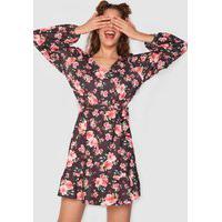 Vestido Fiveblu Curto Floral Amarração Preto/Rosa
